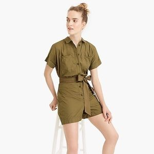 J. Crew Button-up romper in Frosty Olive, Size 14